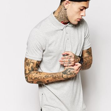 ASOS Longline Polo Shirt In Jersey With Zip Detail