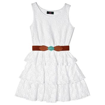 IZ Amy Byer Tiered Lace Dress - Girls 7-16 (White)