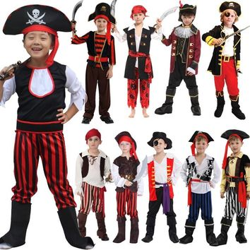 Cool Halloween Pirate Captain  Cosplay Costumes For children boys Party Jack Triangle Hat Faux Leather Unisex Pirate Cap Dress upAT_93_12