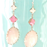 Vintage White Opal Oval Pink Square White Opal Square Silver Scalloped Drop Dangle Statement Earrings - Wedding, Bridal