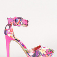 Women's Qupid Tropical Floral Pointy Toe Ankle Cuff Stiletto Platform Heel