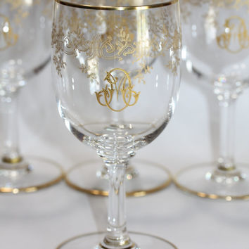 Series of 6 water crystal Baccarat glasses model Récamier gilded in 24-carat gold