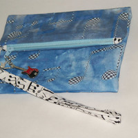 Zippered wristlet pouch - Music Notes fabric - Digital Textile Printing - Cosmetic bag - Small Clutch - OOAK fabric