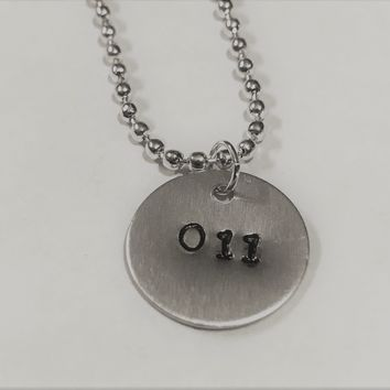 Stranger Things Eleven Hand Stamped Metal Necklace 011 Handmade
