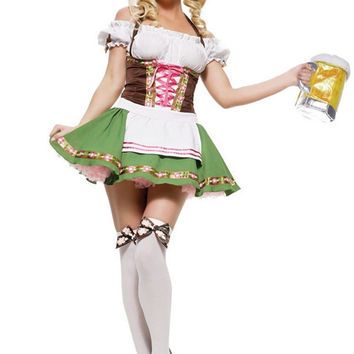Womens Traditional German Bavarian Beer Girl Costume Sexy Oktoberfest Festival Carnival Party Fancy Dress