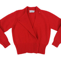 Vintage Red Wrap Sweater - Cropped Crop Cardigan Jacket 80's Preppy Ivy League - Women's Size Small Medium Sm Med S M