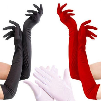 Opera Wedding Bridal Evening Party Prom Costume Gloves Fashion Satin Long Gloves = 1958102084