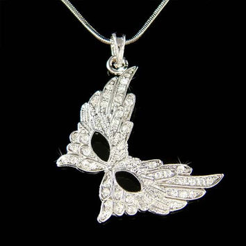 Swarovski Crystal Sexy Broadway Feather Masquerade Mask Pendant Charm Necklace Christmas Best Friend Gift New