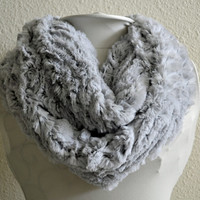 Minky Grey and Black Infinity Scarf, Soft and Warm, Circle Scarf, Tube Scarf Ready to Ship!