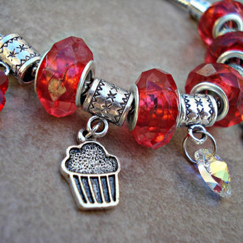Cupcakes and Hearts European Charm Bracelet - Red Beads, Swarovski Crystal & Silver Plated