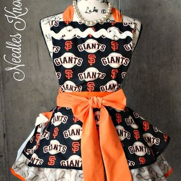 San Francisco Giants Womens Apron, Womens Flirty Baseball Apron, Game Day