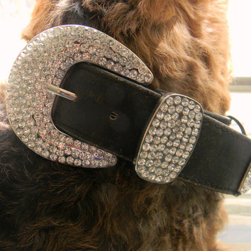 Custom Dog Collar, Black Distressed Leather and Rhinestone Collar For Large Breed Dogs, Designer Leather Pet Collar