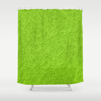 Lime green 3D carpet texture Shower Curtain by Natalia Bykova