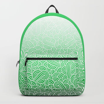 Ombre green and white swirls doodles Backpack by Savousepate