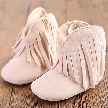 Baby Girl Fringe Moccasin Boot Shoes 7 Color Choices