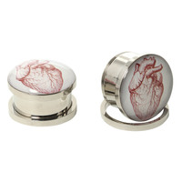 Steel Anatomical Heart Spool Plug 2 Pack