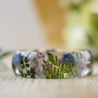 Real Flower Forget me Nots Bangle - Summer Meadow - Choose Your Size