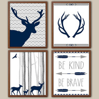 Woodland Nursery Art For Boys - Tribal Boys Wall Decor - Stag - Kids Wall Art - Navy Nursery Decor - Boys Wall Art - Set of 4 Art Prints