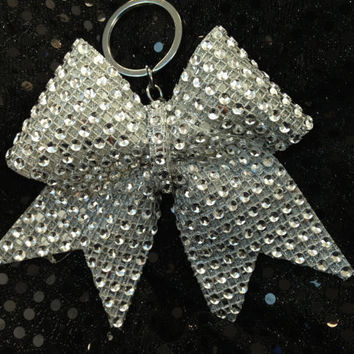1 silver Rhinestone Bling Keychain Holders Bow Ribbon Cheer Dance