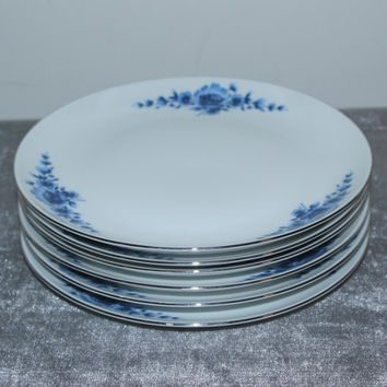 Eschenbach Danish Blue-Coupe salad plates (Set of 6), vintage plates, Bavaria porcelain