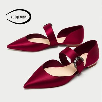 WEIQIAONA New Women Jewelry buckle ballet shoes Shallow a strap Pointed flat princess Red wedding shoes Casual Fashion shoes