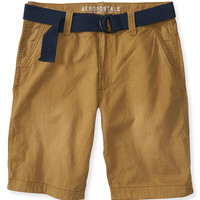 Aeropostale  Mens Belted Solid Flat-Front Shorts - Brown