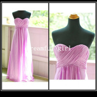 Homecoming dresses sweetheart sleeveless floor-length chiffon summer prom dresses