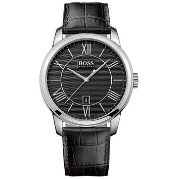 Hugo Boss 1512974 Men's Classic Black Dial Black Leather Strap Date Watch
