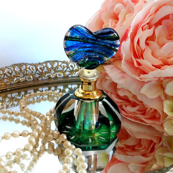 Art Glass Perfume Bottle Emerald Green Cobalt Blue with Glass Heart Stopper, Vintage Vanity, Boudoir, Hollywood Regency, Gifts for Her