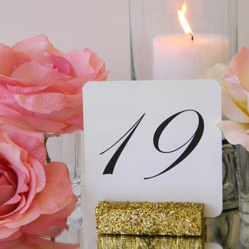 White Linen Table Number Cards