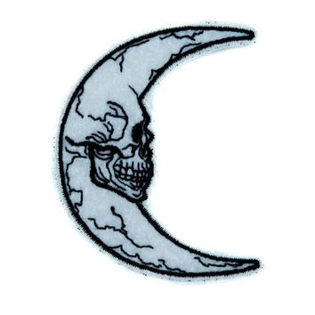 ac spbest Crescent Moon Skull Luna Patch Iron on Applique Alternative Clothing Astrology Witchcraft