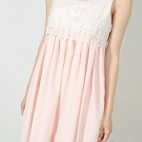 Cute Sleeveless Chiffon Lace Dress for Women
