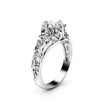 Unique Moissanite Engagement Ring 14K White Gold Filigree Engagement Ring