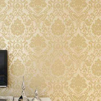 Non-woven Embossed Bedroom Wallpaper European Style Damask Wallpaper Wall Covering For Living Room Home Decoration Wall Paper 3D
