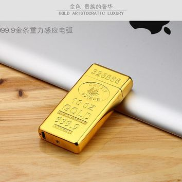 Classic Gold Bars electric Pulse Arc lighter USB charging cigarette lighter case Men USB Lighter business Gifts Lighters-JL688