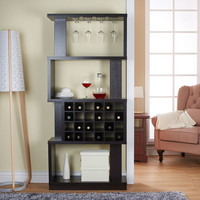 Anton Tall 4-Tier Wooden Wine Stand with Built-In Glass Rack and 24-Cube Cubby Storage