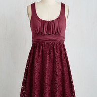 Short Length Sleeveless A-line Artisan Iced Tea Dress in Raspberry
