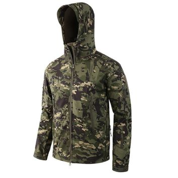 ESDY Men Outdoor Hunting Camping Hiking Coat Waterproof Windproof Shark skin Soft Shell Military Camouflage TAD Fleece Jacket