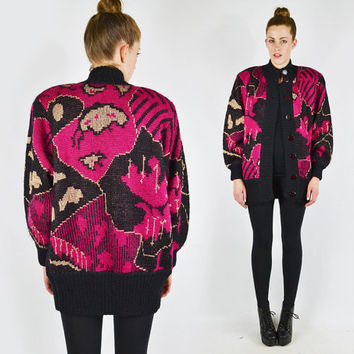 vtg 80s black pink avant garde ABSTRACT print wool chunky slouchy OVERSIZED knit CARDIGAN sweater coat jacket S M L