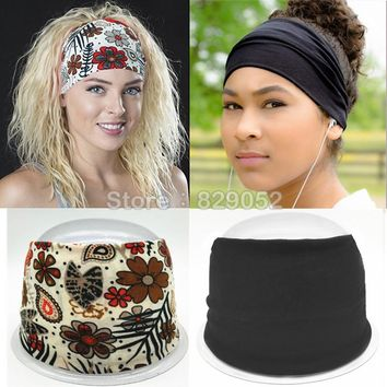 Bohemia Cotton Headband Boho Turban Headbands for Women Girls Flower Wide Elastic Hair Bands Bandana Headwrap Bandage Headwear