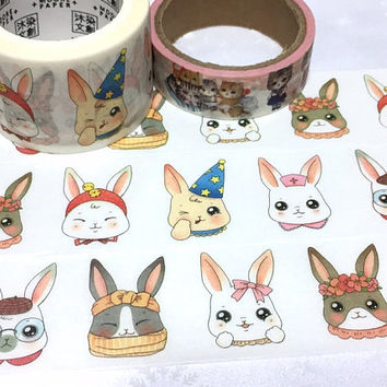 cute Rabbit washi tape 7M x 3cm bunny rabbit party masking tape flower crown party hat rabbit sticker tape rabbit theme planner sticker gift