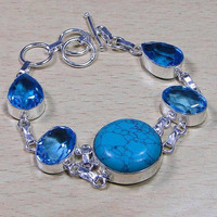Quartz Blue Topaz & Turquoise 925 Silver Overlay Bracelet 220mm x 20mm. Gifts Under 10,20,30 ,Silver Topaz Bracelet,Silver Bangle,UK Seller