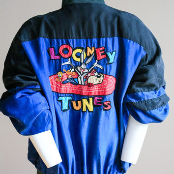 Looney Tunes Jacket  | Looney Tunes Silk Jacket | Bugs Bunny Silk | Road Runner Silk | Warner Bros Embroidered Jacket | Silk Collectible| S