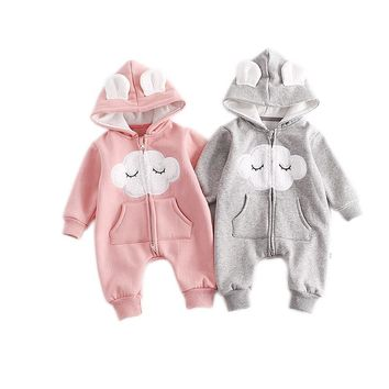 Cute Newborn Baby Hooded Romper Smile Cloud Appliqued Costume Baby Clothes Pocket Overalls Autumn Warm Long Sleeve Baby Jumpsuit