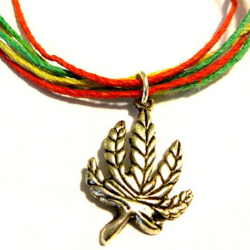 Cool Rasta Hemp Necklace, Rasta Color Hemp Choker Necklace, Unisex Necklace, Marijuana Pot Leaf Charm Jewelry, Multi Color Jewelry