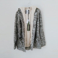 winter sweaters Women's Fleece Coat Warm Solid Knitted Cardigans Fashion Long Sleeve Knitwear Hooded Outerwear