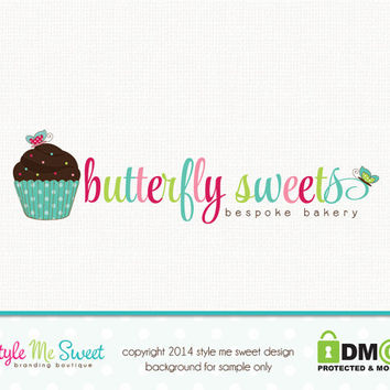 Premade Logo Design - Cupcake Bakery Logo Design Small Business Logo Hand Drawn