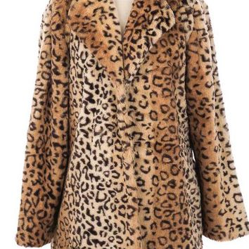 Leopard Cozy Faux Fur Jacket