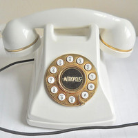 Mid Century Phone Mid Century Modern 1960s Phone Desk Phone Touch Tone Phone White Phone Old Phone Retro Telephone Vintage
