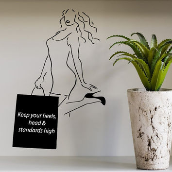 Wall Decal Quote Keep Your Heels Head And Standards High Girl Beauty Salon Home Vinyl Decal Sticker Kids Nursery Baby Room Decor kk295